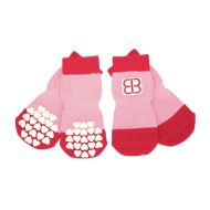 Pet Ego Calcetines con Traccion Rojo-Rosa
